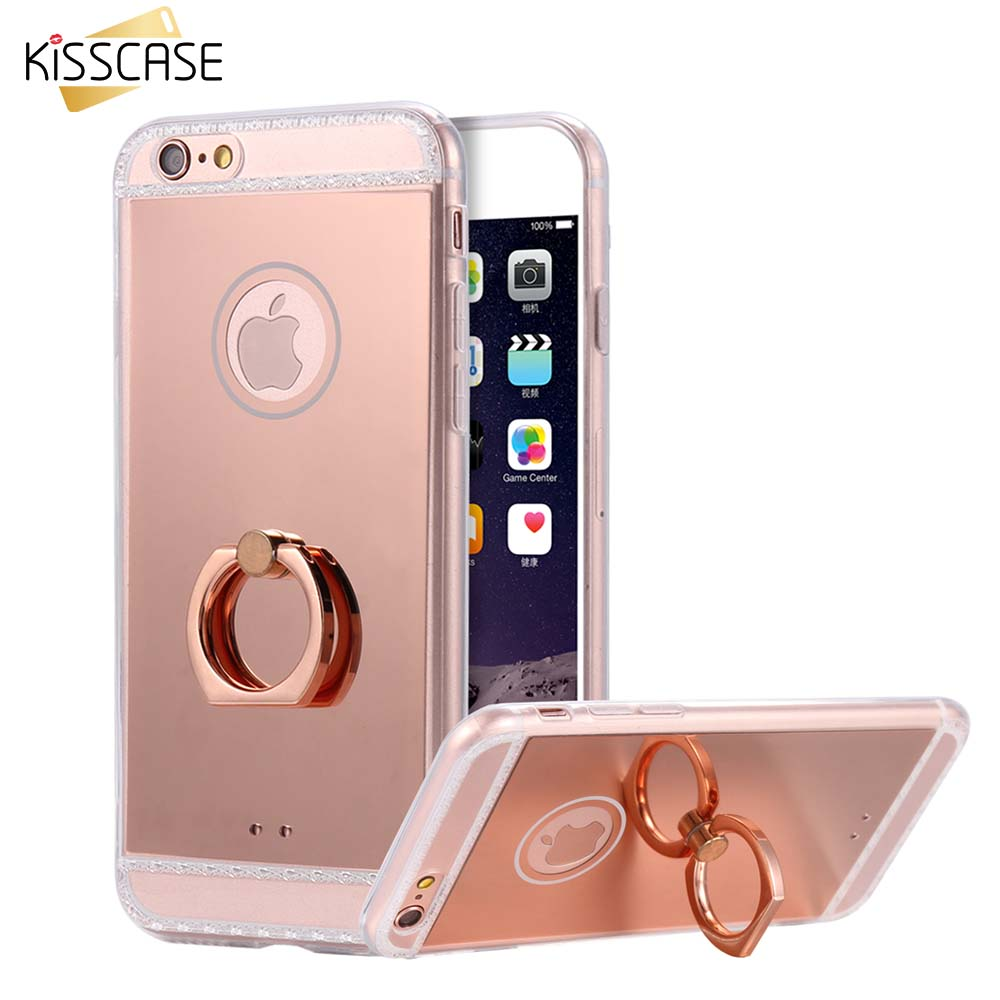 KISSCASE Mirror Case For iPhone 6 6S Plus 6 6S Metal Ring Stand Cases Back Cover For Samsung Galaxy S7 S7 Edge For Huawei P9 Bag