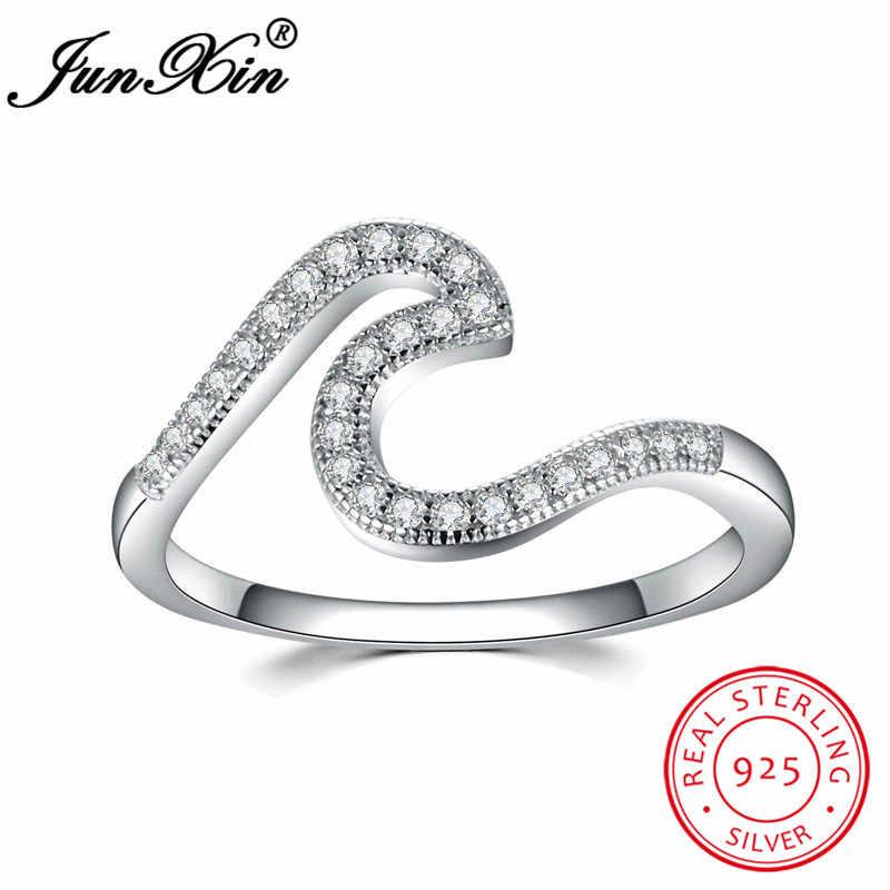 JUNXIN 100% anillos de plata esterlina sólida S925 para mujeres incrustaciones AAA zirconia encanto Anillo blanco piedra natal boda bandas joyería