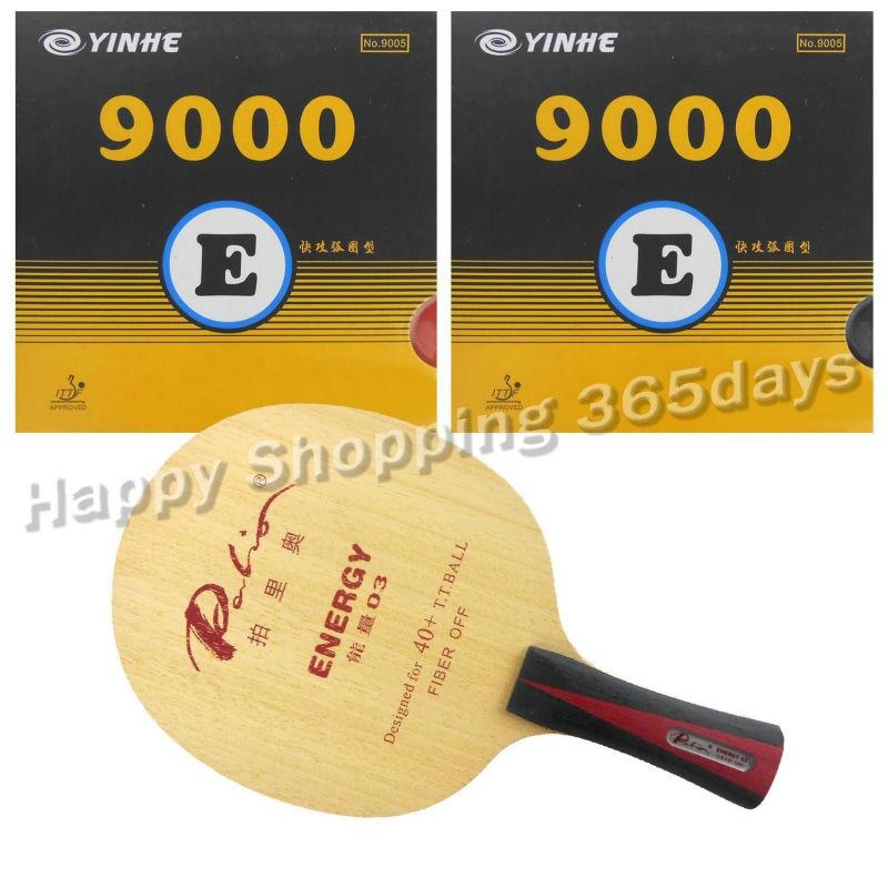 Pro Table Tennis PingPong Combo Racket Palio ENERGY 03 Blade With 2x Yinhe 9000E Rubbers Shakehand Long Handle FL