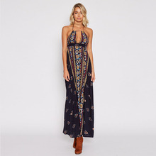 New summer hot Italian sexy fashion temperament ethnic style high waist strap print ladies dress