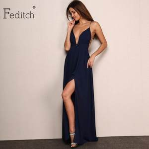 Feditch Maxi Dress Women Sexy Evening Party Dresses caf6c4fcf3d6