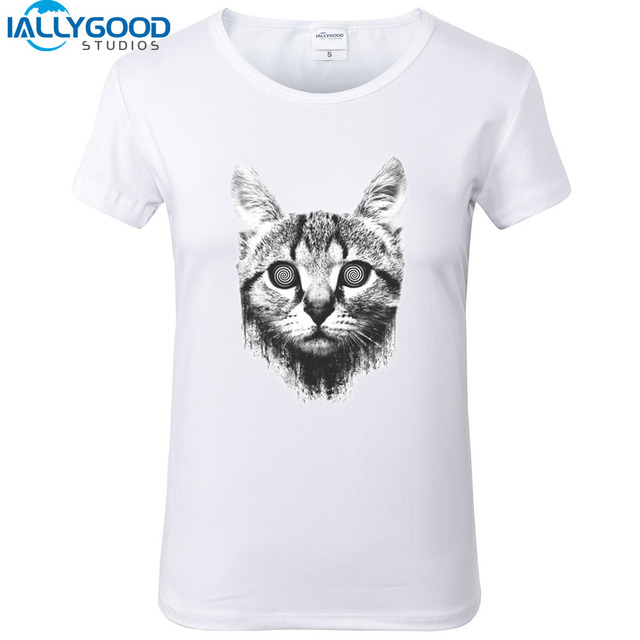 Aliexpress.com : Buy Funny Hypnotize Cat T Shirts Look into my ...