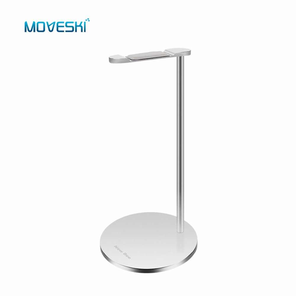 Moveski NB-Z3 Headphone Stand aluminum Holder Earphone with leather Silicone Anti-skid Flexible Headrest ABS Solid Base