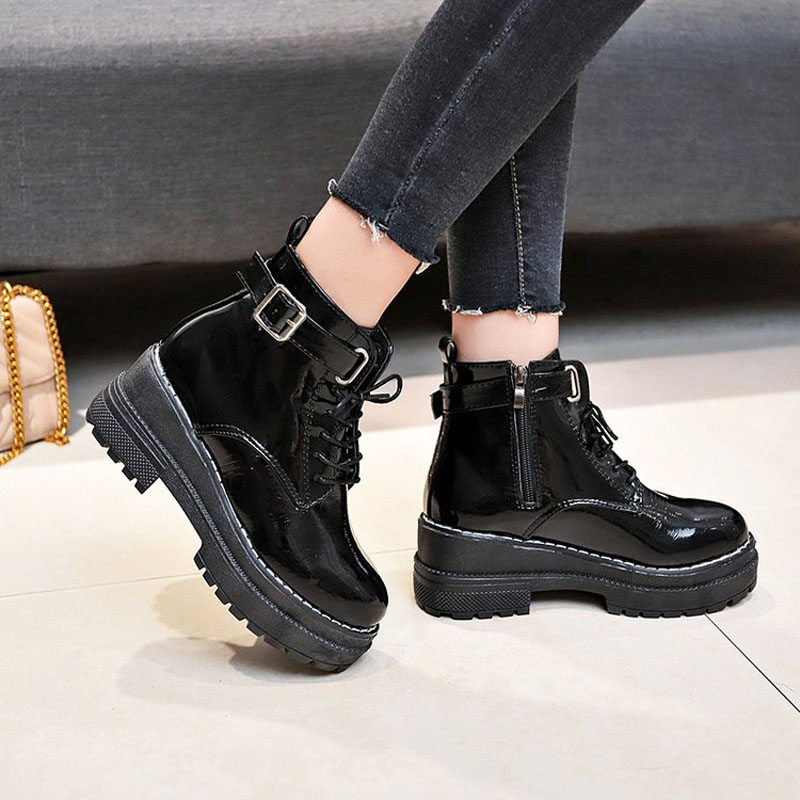 Aleafallling Women Boots Thicken Warm Winter Snow Boots Thicken Non slip Zip Girl's Leather Shoes For College Students AMBT199-in Ankle Boots from Shoes