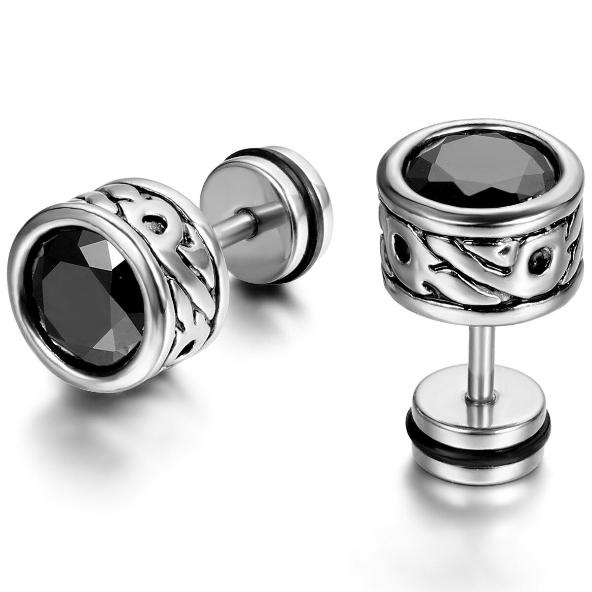 BONISKISS hommes acier inoxydable Stub boucles d'oreilles classique Boucle D'oreille avec des pierres de cristal charmant noir Simple bijoux