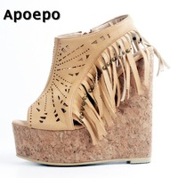 Apoepo Newest Peep Toe Platform Wedge Sandal 2018 Suede Fringed Cuouts Shoes Woman Super High Gladiator