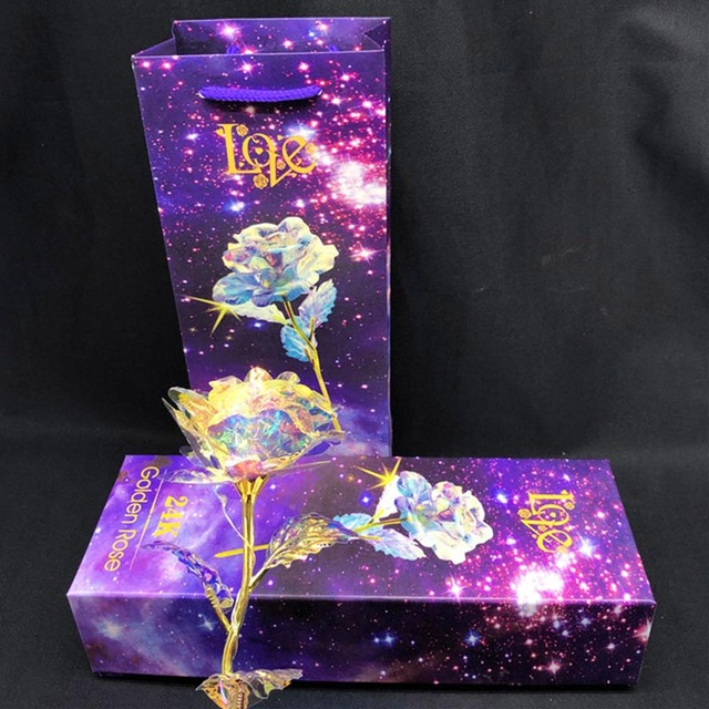 1 Pcs Galaxy Rose with Love Base Luminous Rose Valentine Mother's Day Anniversary Gift E2S