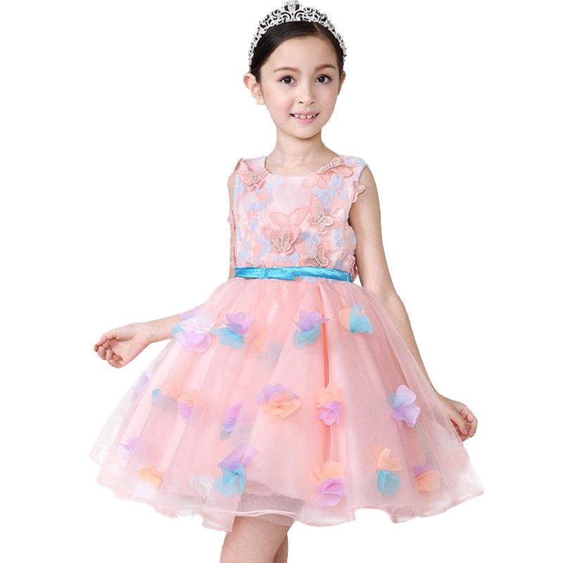 Girls Flower Dress Children Sleeveless Birthday Party Pink Butterfly Dress Baby Princess Bow Clothes 2017 Summer Kids dress kids girls flower dress children girl sleeveless birthday party dress baby fancy princess clothes 2 3 4 6 8 10 12y ad 1709 1