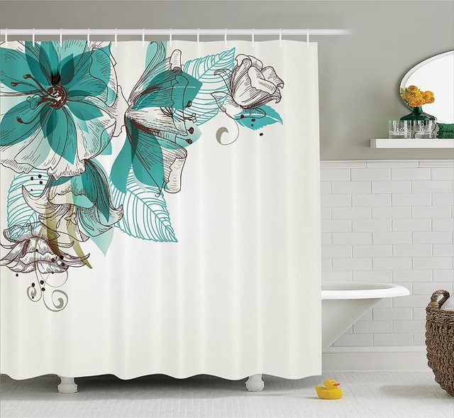 Modern Print Bathroom Shower Curtain Vintage Style Flowers Buds With Leaf Retro Art Season Celebration Teal Brown White
