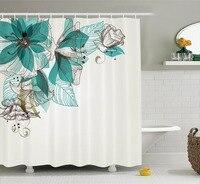 Modern Print Bathroom shower curtain Vintage Style Flowers Buds with Leaf Retro Art Season Celebration Teal Brown White