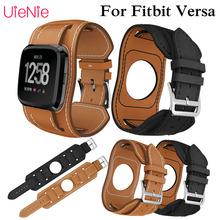 Leather replacement wristband for Fitbit Versa smart watch strap bracelet accessories luxury business watchband
