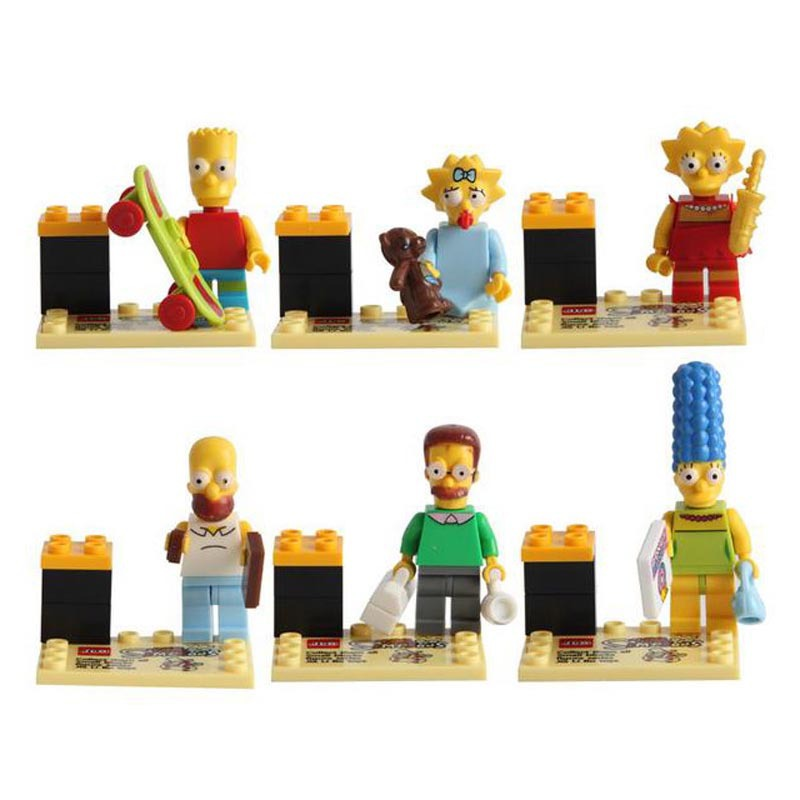 6pcs Simpsons Family Homer Marge Bart Lisa Maggie Cartoon Movie DIY Building Block Toys Compatible With legoing Toy