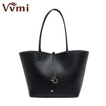 Vvmi Bolsos Mujer de marca famosa mujeres bolso grandes bolsas sólido negro simple hombro de la capacidad grande bolso de compras durable
