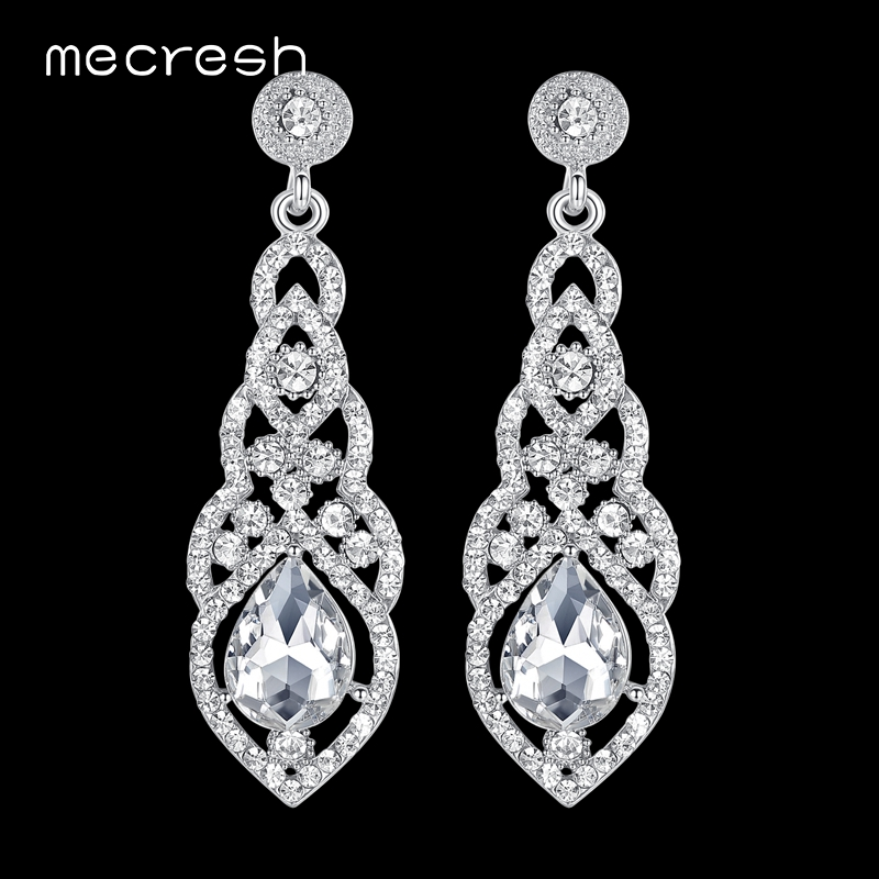 Mecresh Crystal Wedding Earrings for Women Cute Silver Black Gold Color Korean Bridal Dangle Earring 2018 Fashion Jewelry EH444
