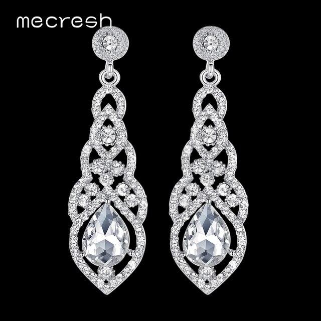 Mecresh кристалл свадебные серьги для женщин милые серебристый, черный золото Цвет корейские свадебные мотаться 2018 модные украшения EH444