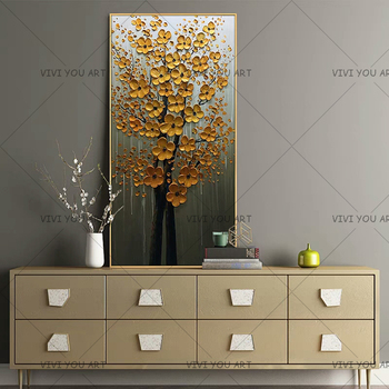 100% Handmade Flowers Painting On Canvas Wall Pictures For Living Room Decoration Palette Knife 3D Texture Acrylic Floral Decor