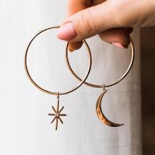 Big Gold Hoop Earrings Star Moon For Women Korean Statement Earings Party Gift  Wholesale