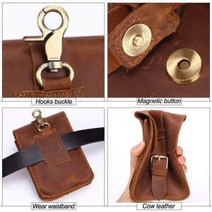Image 4 - MISFITS Crazy Horse Cow Leather Mens Waist Bag Genuine Leather Travel small Fanny Pack Belt Loops Hip Bum Bag Male Phone Pouch