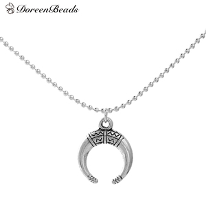 DoreenBeads Handmade Boho Chic Necklace antique silver color Crescent Moon Double Horn 45.3cm long, 18mm x15mm, 1 Piece