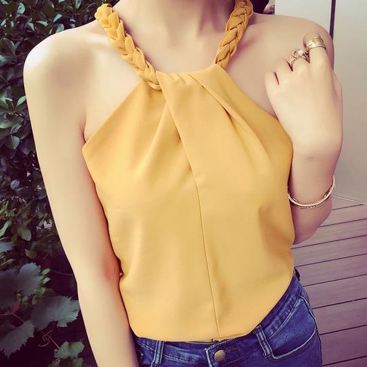 summer women sleeveless Halter sexy strapless female short chiffon shirt blouse