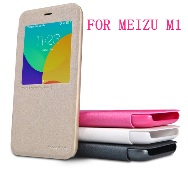 (5 inch)MEIZU M1 Case NILLKIN Sparkle leather case flip cover for MEIZU M1 super thin window design with Retailed Package