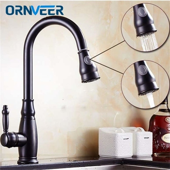 Black Pull Out Kitchen Faucet Bathroom Mixer Tap Deck Mounted Swivel Spout Stream Sprayer Lead-free Shower Mixer Tap torneira