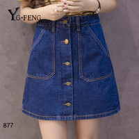 YGFENG 4 Styles Summer Patchwork Jeans Pencil Skirt High Waist Casual Mini Skirt With Pocket Female