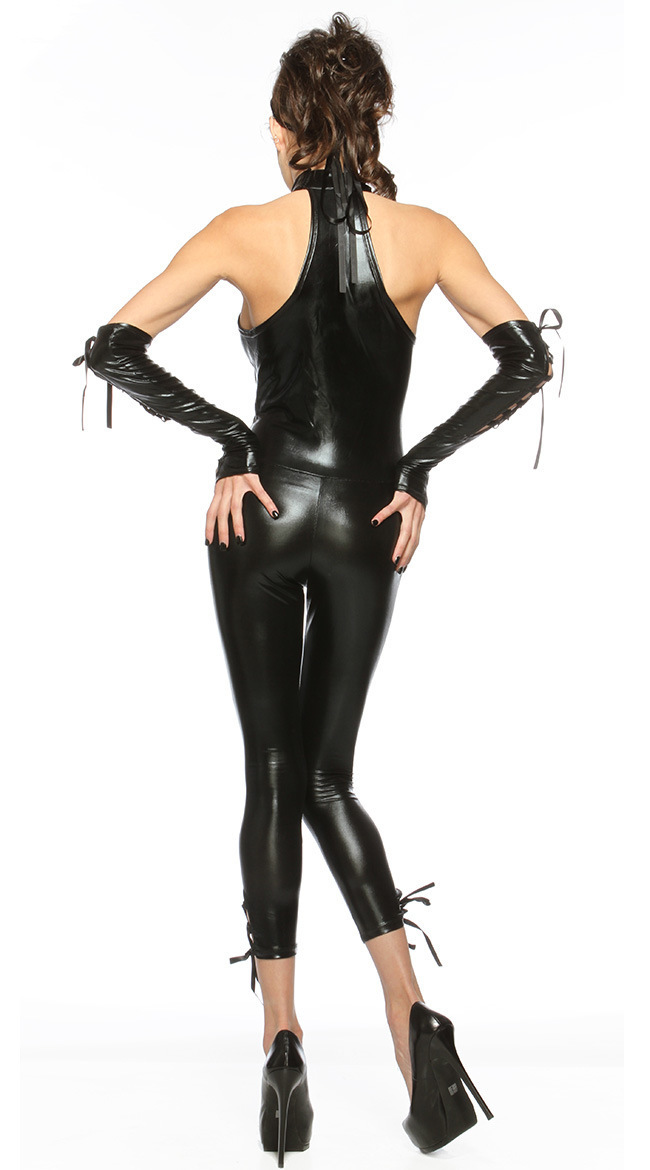 Black Cat Instant Kit Wet Look Mask Womens Ladies Fancy Dress Accessory New