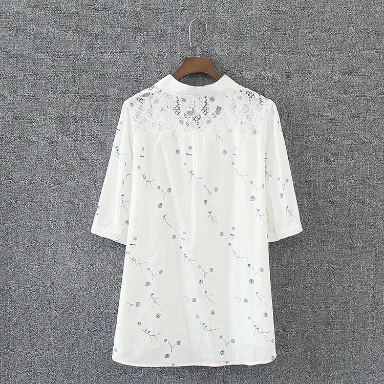 Lace Blouse Women New Summer Style Plus Size 3 4 XL V-neck Loose Casual Half Sleeve Blouse White KK3045 Women Women's Blouses Women's Clothings cb5feb1b7314637725a2e7: White