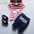Bebê Roupas Meninos Definir SNOOPIE Impresso Camisa Listrada Marca a Roupa Dos Miúdos Da Criança Meninas Roupas de Verão + Calças Conjunto de Roupas L134