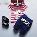 Ropa de Los bebés Fijó SNOOPIE Impreso Camisa A Rayas Marca de Ropa Para Niños Niñas Ropa de Verano + Pantalones Que Arropan el sistema L134