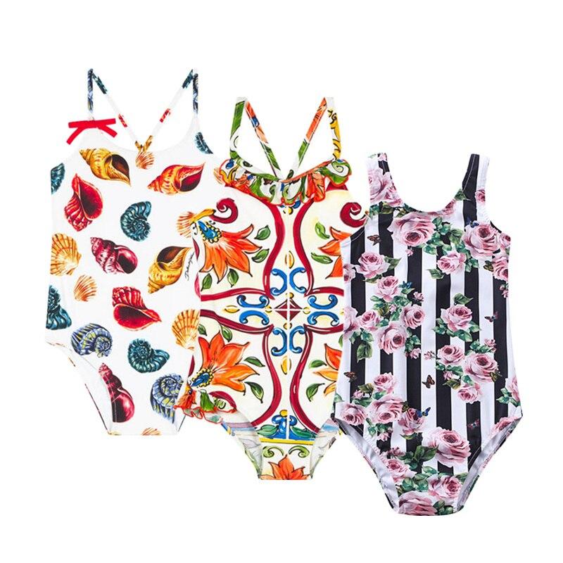 Stroje kąpielowe Baby Girl 2018 Pasy Girls Swimsuit Flower Conch - Odzież dla niemowląt - Zdjęcie 1
