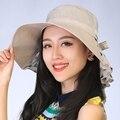 Nueva primavera verano otoño de la mujer moda plegable grande ancho Brim Floppy Sun del arco del doblez encantador Floppy Cloche bowler Hat Cap
