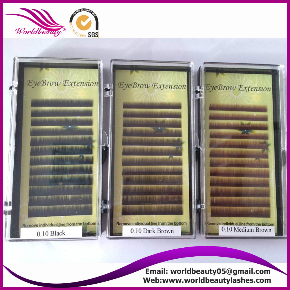 10trays per lot, eyebrow extension, black, dark brown, medium brown, M5-6-7mm, 0.10, 0.15 0.20, free shipping and glue ring gift