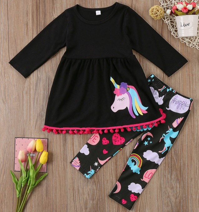 girl toddler clothes baby girl summer clothing 2019 fashion clothes christmas outfits cartoon print kids outfit sets casual in Clothing Sets from Mother Kids