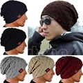 Hombres de invierno Reversible Skull Chunky Baggy Knit Beanie Cap Unisex Mujeres Sombrero Caliente