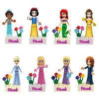 Girl Princess Figure Mermaid Snow White Belle Jasmine Cinderella Princess Blocks Compatible Friends Figurines 8pcs