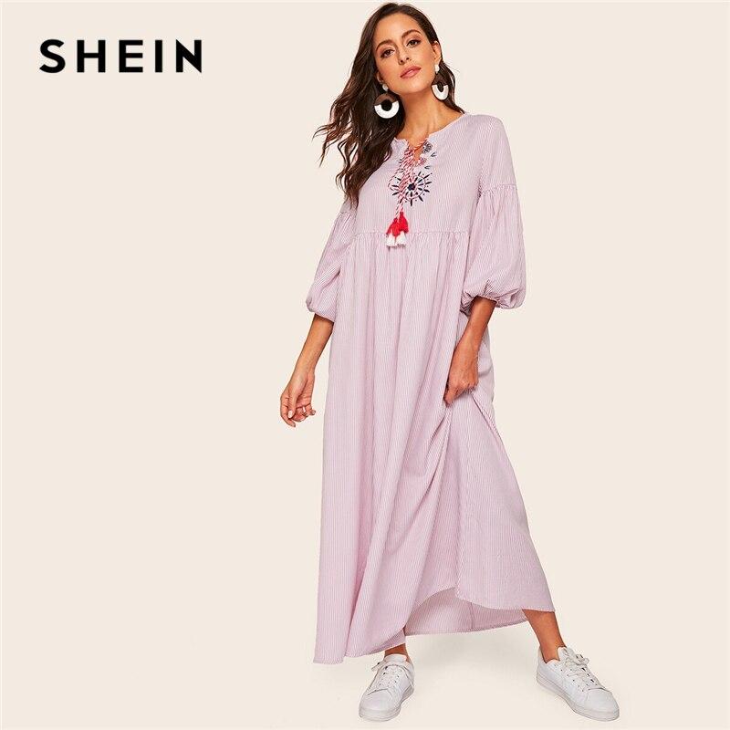 SHEIN abaya разноцветные кисти галстук шеи Бишоп рукав Полосатое платье в пол женские весенне-летние плиссированные талии свободные скромные пл...