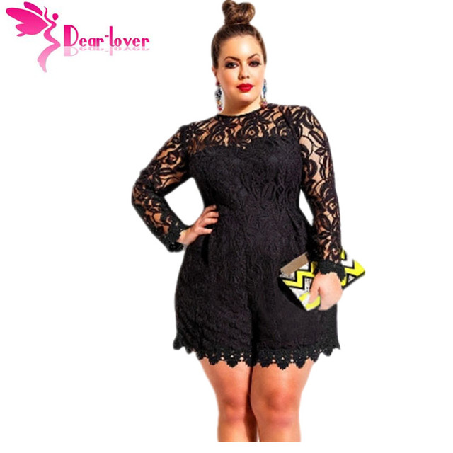 9203efe0a7e Dear Lover Black Plus Size Long Sleeve Lace Romper Overalls Playsuit  Macacao Feminino For Women Shorts Oversize 5XL 4XL LC60599
