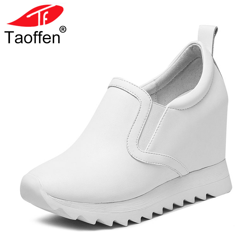 TAOFFEN Simple Women Real Leather High Wedges Shoes Women Round Toe Wedges Pumps Office Lady Leisure Women Footwears Size 32-40 taoffen size 32 48 sexy women bowtie round toe high heel shoes women ankle strap thick heels pumps party dress women footwears