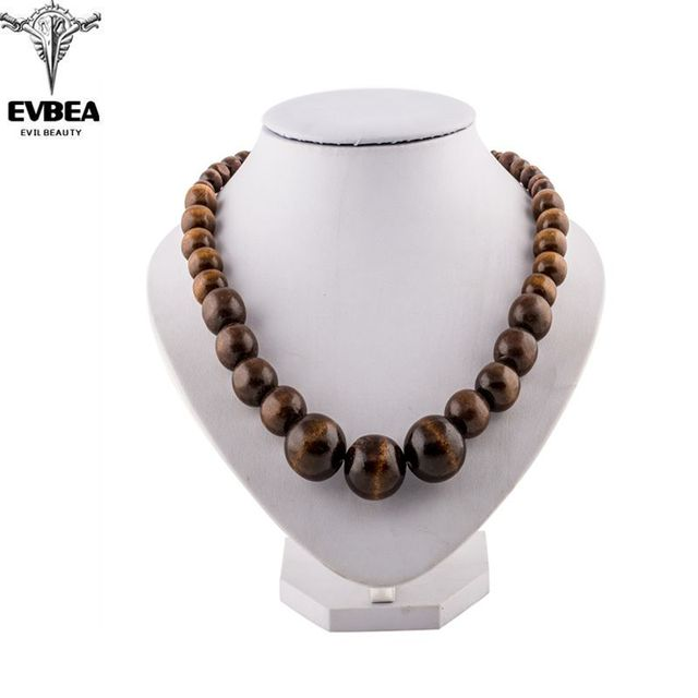 Maxi Power Bijoux vintage Collares steampunk Statement Choker  Jewelry Wood Round Bead Vintage Fashion Accessories Necklace