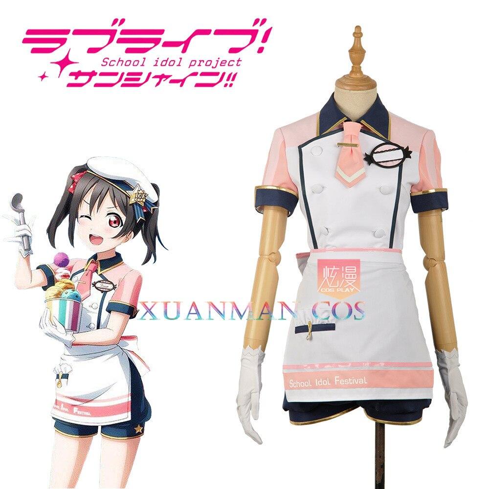 W1207 3 Love Live! Yazawa Nico Cosplay Costume Ice Cream Unawakened Custom Made Pink Maid Unifrom Girl Skirt Apron Short Dress