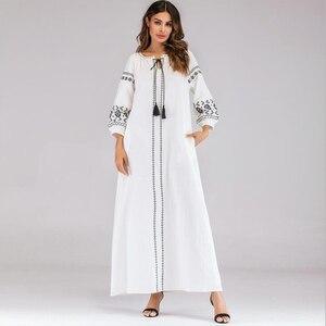 Женское мусульманское Длинное Макси-платье, вечернее платье с вышивкой в Дубае, марокканский кафтан, скромное платье-кафтан в турецком стил...