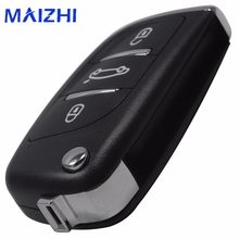 maizhi Remote Folding Flip Car Key Shell Case 3 Button for Audi A6 for VW for Pasha Te For Bora for Skoda for Seat Without Blade