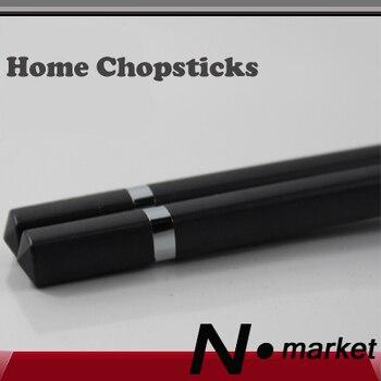 Nuevo Producto, palillos chinos para el hogar de estilo coreano de 10 par/lote con protección del medio ambiente original en negro puro, 24cm