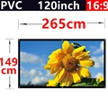 factory sale 120 Inch 16:9 PVC Fabric Matte With 1.1 Gain projection screen Wall Mounted for hd 3d home theater free shipping