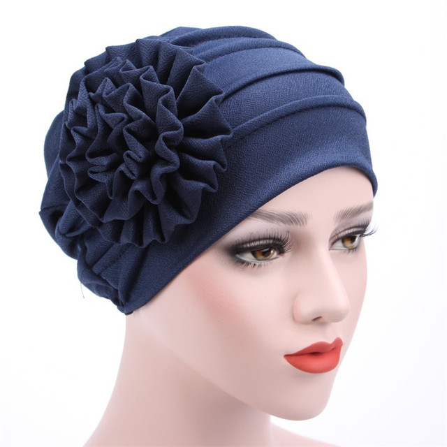 Titmsny Large Flower Turban Muslim Caps Fashion Women