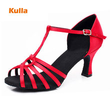Women Salsa Tango Party Ballroom Dance Shoes Latin Dance Shoes Ladies Red Black Soft Sole Jazz Practice Dancing Shoes Heeled 7cm цены онлайн