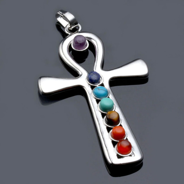 Ayliss high quality 1x 7 stone cross ankh healing chakra balancing ayliss high quality 1x 7 stone cross ankh healing chakra balancing gem stone point bead cross mozeypictures Image collections