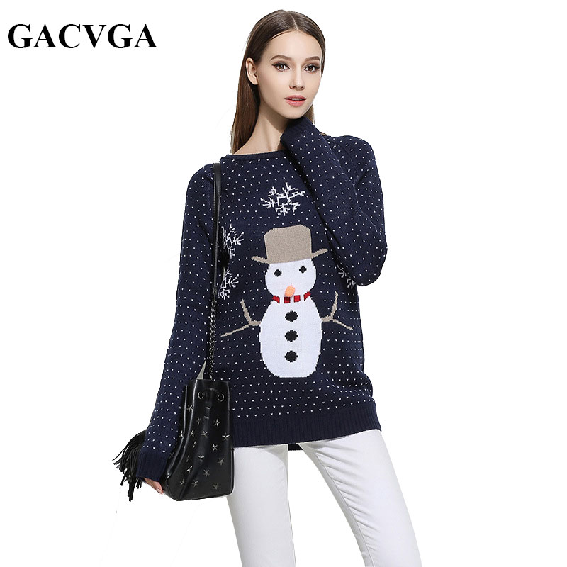 GACVGA Brand Christmas Pullover Sweater Knitted Jumper O-Neck Outwear Women Sweaters And Pullovers Autumn Winter Pull Femme